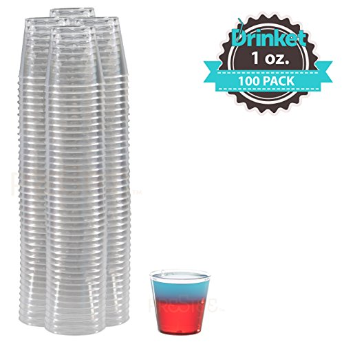 Disposable Shot Glasses - Disposable Plastic Shot Glasses | 1 Oz | 100 Pack | Mini Plastic Cups | Ideal for Tequila, Vodka, Jagermeister | Drinket Collection