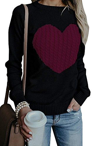 Valphsio Womens Casual Pullover Sweater Long Sleeve Crew Neck Heart Printed Knit Sweater Tunic (Hearts Skirt Sweater)