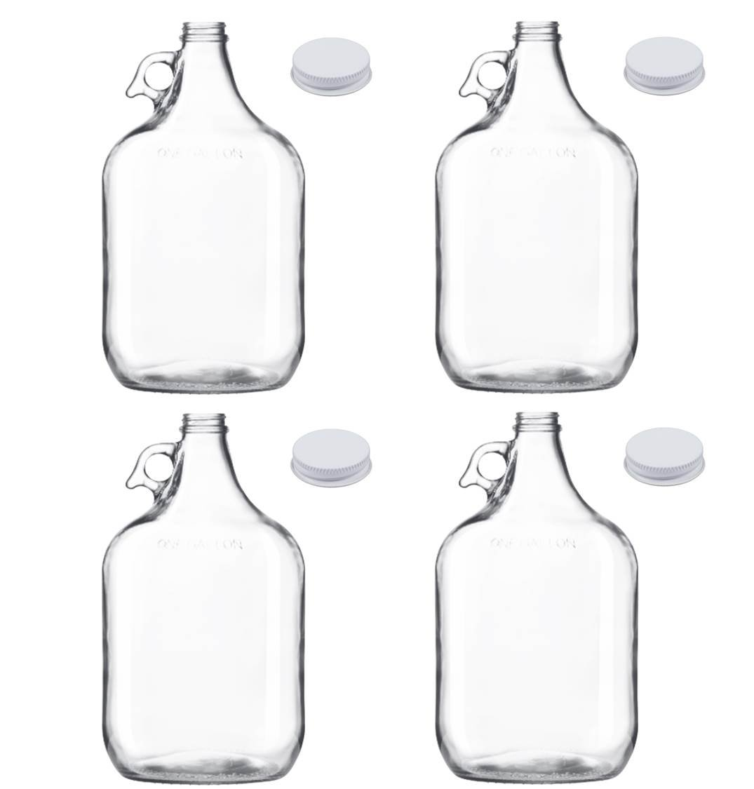 1-Gallon Heavy-Duty Clear Glass Growler Jug, Metal Cap/Liner, Made in USA (Set of 4) Owens Illinois