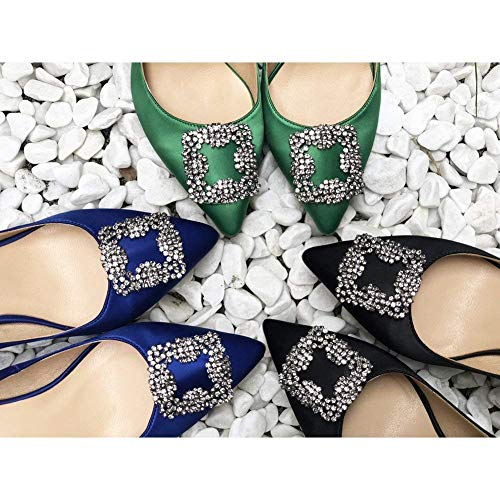 Caitlin Talon Talons Classique Escarpins de Bout Diamants Femmes 5cm Hauts Pan Noir Satin 6 Pointu Aiguille Robe Chaussures RqwBRrU
