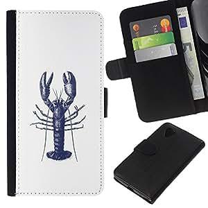 For LG Nexus 5 D820 D821 Case , Ink Tattoo White Blue Art - la tarjeta de Crédito Slots PU Funda de cuero Monedero caso cubierta de piel