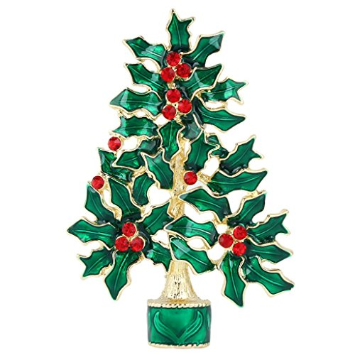 EVER FAITH Green Evergreen Tree Flower Brooch Pin Austrian Crystal Gold-Tone ()