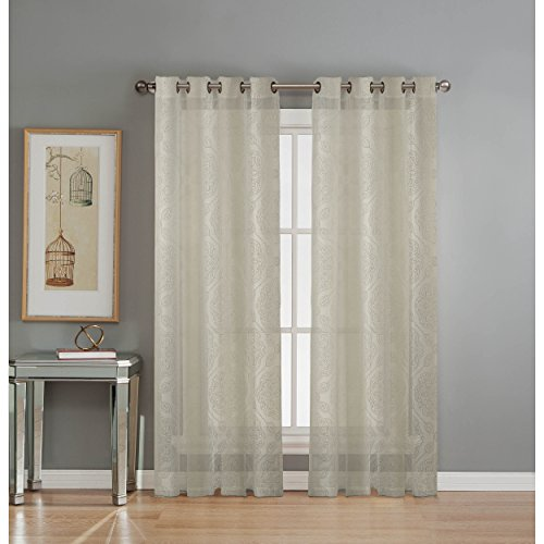 Window Elements Diamante Cotton Blend Burnout Sheer 76 x 84 in. Grommet  Curtain Panel Pair, Ivory (Sheer Curtain Ideas For Living Room)