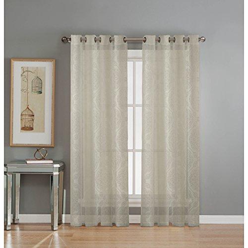 (Window Elements Diamante Cotton Blend Burnout Sheer 76 x 84 in. Grommet  Curtain Panel Pair, Ivory )
