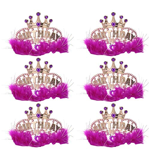 Kicko Birthday Princess Tiaras, 4 X 5 Inches - 6 Pack - Crowns with Pink Feathers - Princesses, Fun, Fashion, Party Favors