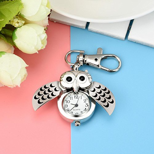 Hot Sale! AMA(TM) Men Women Fashion Gorgeous Owl Watch Clip Pocket Watch Keychain Key Ring Gifts (Black)