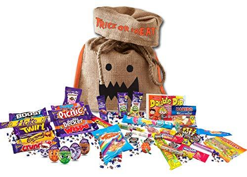 British Halloween Trick Or Treat Candy Bag | 5 Cadbury Goo Heads Halloween Creme Eggs, 15 Cadbury's chocolate bars & 8.8 oz English Retro Candy Mix Assortment Cadbury Variety ()