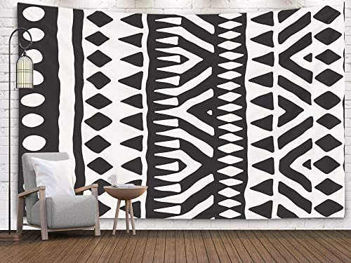 Pamime Home Decor Tapestry for Black White Tribal Pattern Doodle Elements Abstract Geometric Art Wall Tapestry Hanging Tapestries for Dorm Room Bedroom Living Room 80x60 Inches - Tribal Decor Art