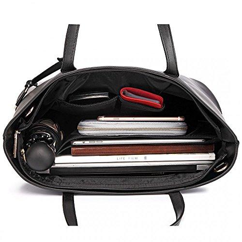 Damen Handtasche Shopper Damentasche Tragetasche Schultertasche XXL Groß (Schwarz) Schwarz - 3 in 1 uGAOk