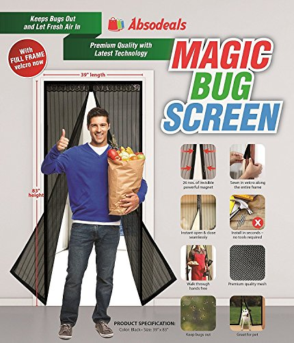 Magic Bug Screen  Magnetic Screen 39x83 BlackLace Screen Door  Mesh Curtain
