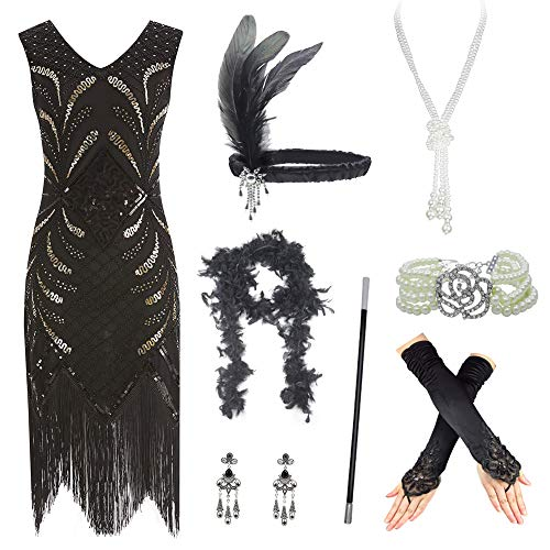 Women's Roaring 20s V-Neck Gatsby Flapper Dresses with Accessories Set (Small, ()