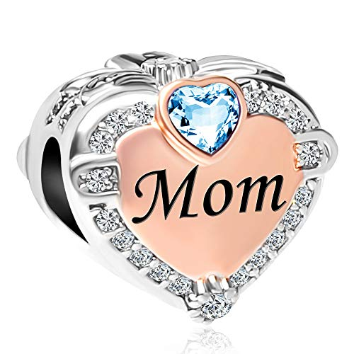 LilyJewelry Mom Rose Gold Plated Charms with Synthetic March Birthstone Blue Crystal Love Heart Bead for Bracelet