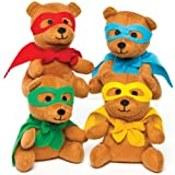 Star Hero Plush Teddy Bears Perfect Party Bag stuffer and Cuddly Toy for Children (Pack of 4)