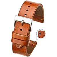 Hand Made Genuine Vintage Leather Watch Strap with Quick Release Steel Spring Bars - Tan - 20mm (fits Wrist Size 6 1/4 inch to 8 inch)