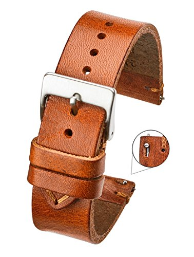 Hand Made Genuine Vintage Leather Watch Strap with Quick Release Steel Spring Bars - Tan - 22mm (fits Wrist Size 6 1/4 inch to 8 inch)