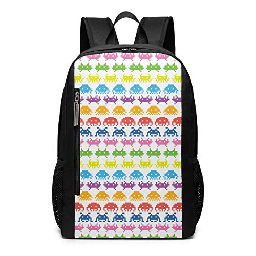 Space Invaders Laptop Backpack 17inch- School Travel Backpack Casual Daypack For Business/College/Women