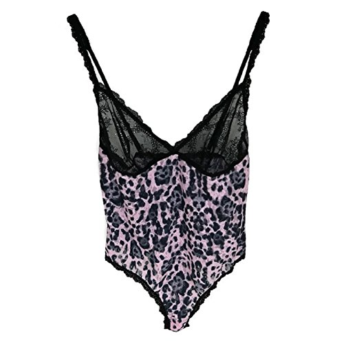 Hanky Panky Pretty Leopard Thong-Back Teddy in Pink and Black -
