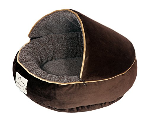 Floppy Ears Design Microfiber and Fleece Hooded Pet Bed (Medium, (Velvet Microfiber Bolster Bed)