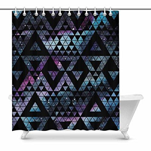 InterestPrint Galaxy Triangles Geometric Shapes Tribal Aztec Design House Decor Shower Curtain for Bathroom Decorative Bathroom Shower Curtain Set with Rings, 72(Wide) x 84(Height) ()