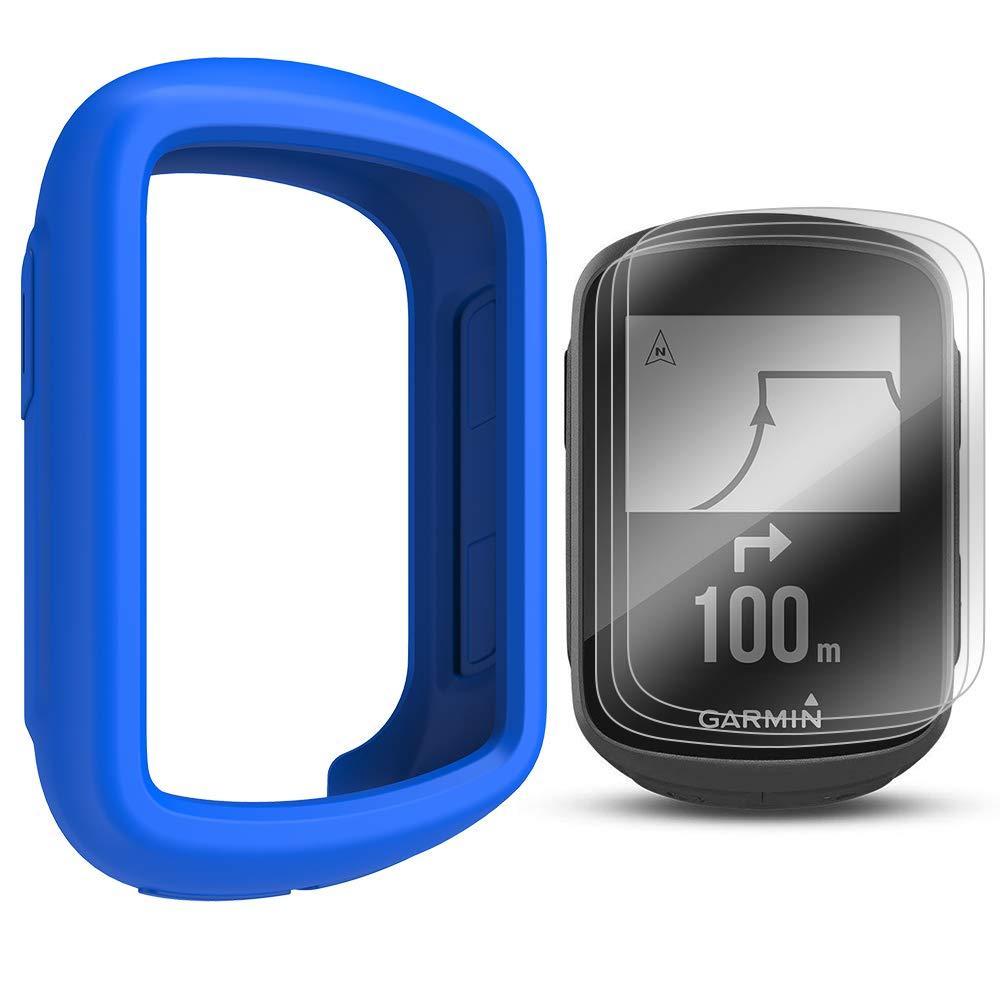 TUSITA Cas avec Protection d'écran pour Garmin Edge 130 GPS - Housse de Protection en Silicone Peau - Ordinateur de vélo Accessoires GPS