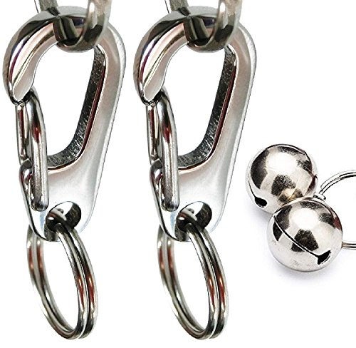 Sundesign Large Stainless Steel Dog Tag Clip with Bells-for Medium and Large Dog Collars