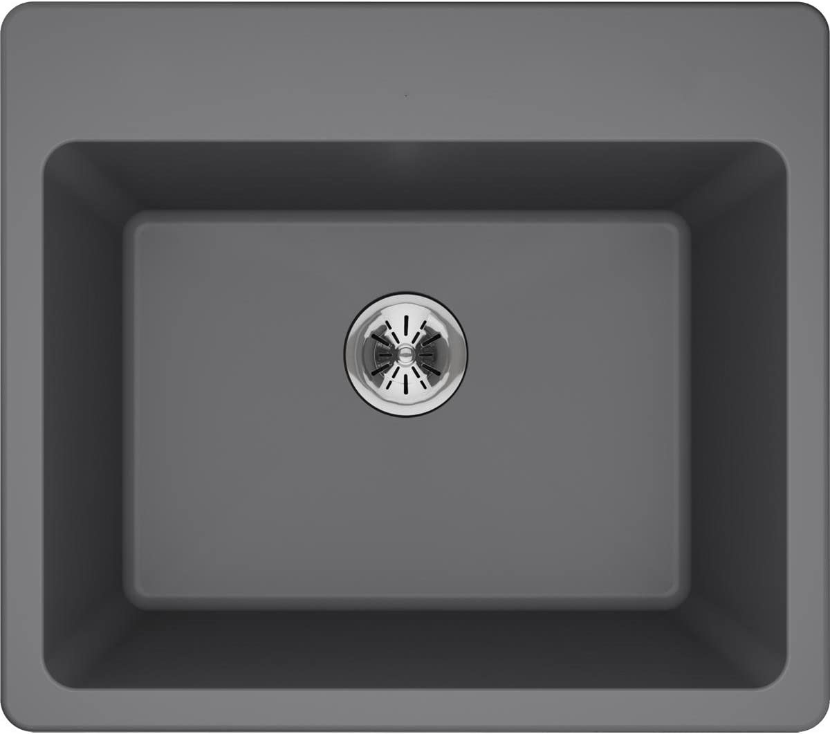 Elkay Quartz Classic ELG252212PDGS0 Greystone Single Bowl Top Mount Laundry Sink with Perfect Drain