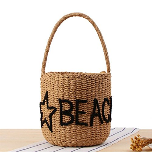Meaeo Women Hot Handmade Straw Bags With Bandoliers Letters Printed Beach Bags Summer Holiday Bags, Ba