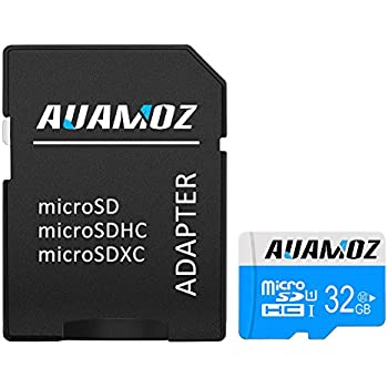 Micro SD Card 32GB, AUAMOZ Micro SDHC Class 10 UHS-I High Speed Memory Card for Phone,Tablet and PCs - with Adapter (Blue/White)
