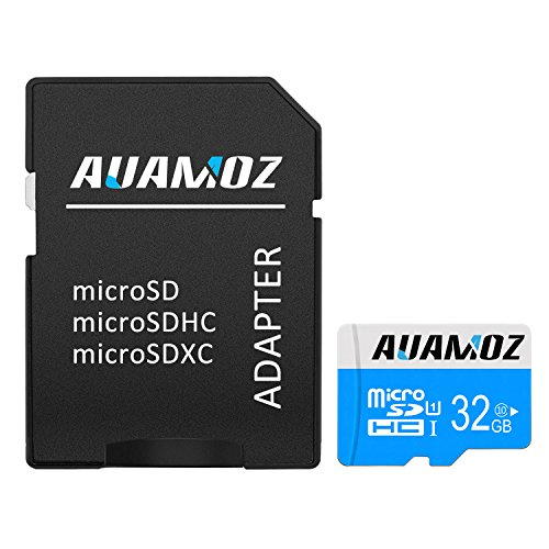 Micro SD Card 32GB, AUAMOZ Micro SDHC Class 10 UHS-I High Speed Memory Card for Phone,Tablet and PCs – with Adapter (Blue/White)