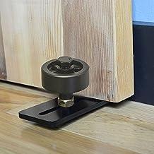 WINSOON 1PC Adjustable Wheel Sliding Barn Door Hardware New Type Powder Coated Black Door Bottom Wall Mount Floor Guide With Screws