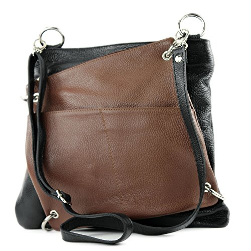 bag Messengerasche Leather 2in1 Nappa de Modamoda ital Brown Shoulder Damentasche leather Black NT07 bag q4gnptW