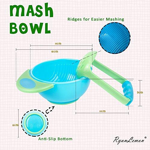51HLVL880qL - Baby Feeding Suction Bowl Silicone Bib Mash Bowl Set Feeding Spoons Blue