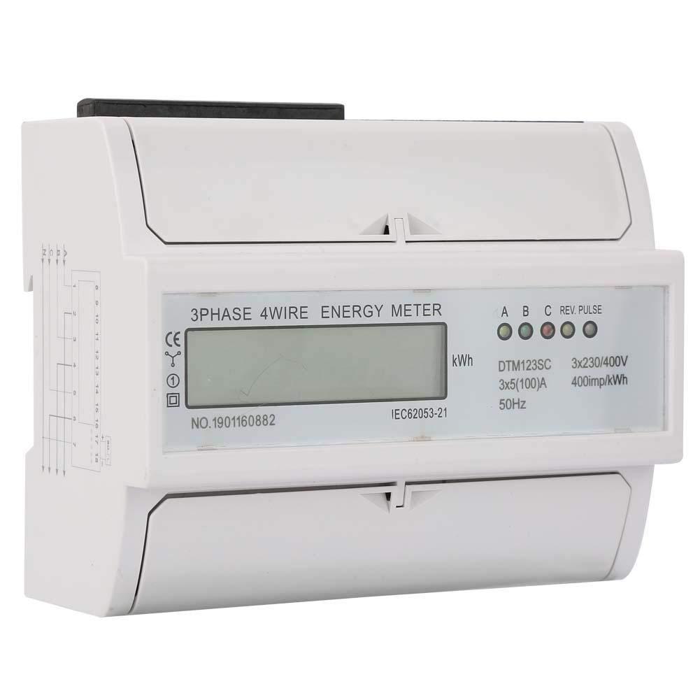 Electric Power Meter 230//400V 5-100A Energy Meter Consumption Digital Electric Power Meter 3 Phase KWh Meter with LCD