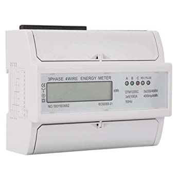 3 Phase KWh Meter,230//400V 5-100A Energy Consumption Digital Electric Power Meter 3 Phase KWh Meter with LCD