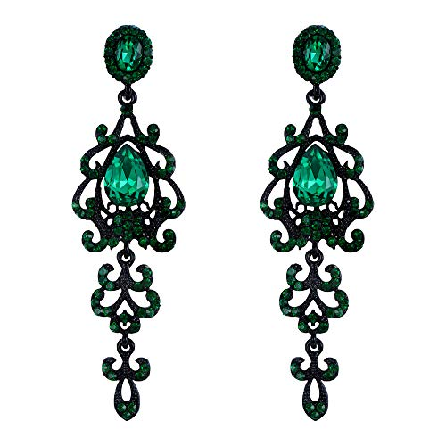 (BriLove Wedding Bridal Dangle Earrings for Women Victorian Style Crystal Teardrop Chandelier Earrings Emerald Color Black-Silver-Tone)