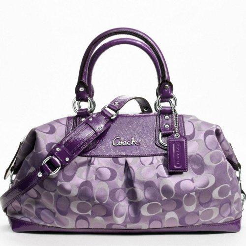 a463cca6e6e0 Amazon.com  Coach 3 Color Signature Large Ashley Satchel Bag 18437 Violet  Purple Multi  Shoes