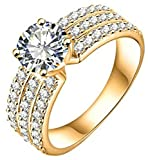 AmDxD Jewelry Gold Plated Women's Gold Engagement Rings Big Round CZ with 3 Rows Crystal Size 6