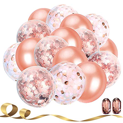 Party Deco 20 Pieces Rose Gold Confetti Balloons,12 Inches Party Balloons with Golden Paper Confetti Dots for Party Decorations Wedding Decorations,Birthday Proposal Whit Rose Gold Ribbon(Rose Gold