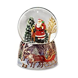 Santa and Reindeer Christmas Snow Globe by The San Francisco Music Box Company