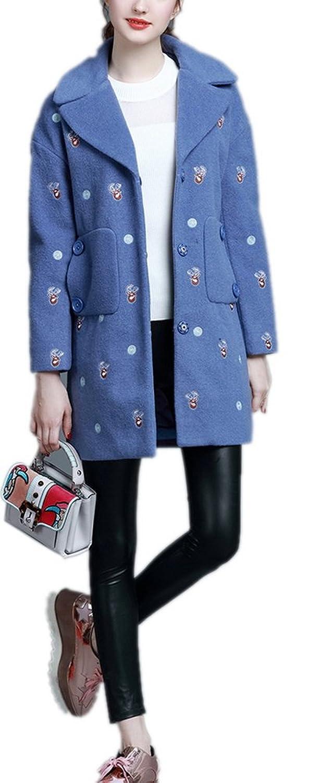 Lingswallow Women Winter Cartoon Print Lapel Slim Wool Trench Coat Jacket