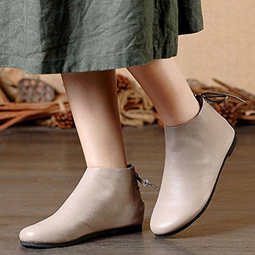 Vogstyle Damen 2016 Neu Leder Boots Einfache Farbe Flache Schnürsenkel Boots Grau