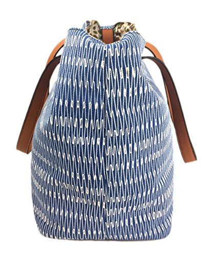 Print in Colours Zips Blue Comfortable Bag and Waves Waves Glitter with Shopper Bag Large Tote Designer with Straw Canvas Beach Handles Summer Canvas SURF Bag Expanding Summer Soft Lovely in qfZwafBX