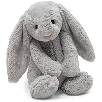 Jellycat Bashful Grey Bunny, Small - 7 inches