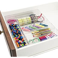 Clear Plastic Desk Drawer Organizers | 6 Piece Set