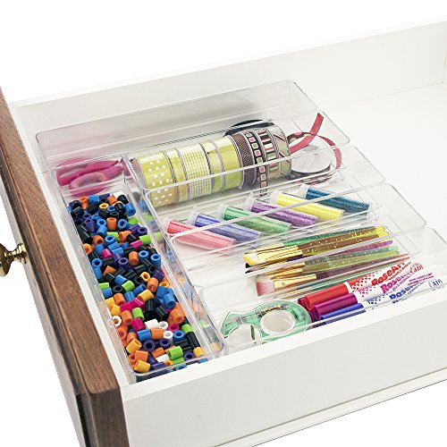 Break-Resistant Clear Plastic Drawer Organizers | 6 Piece Set
