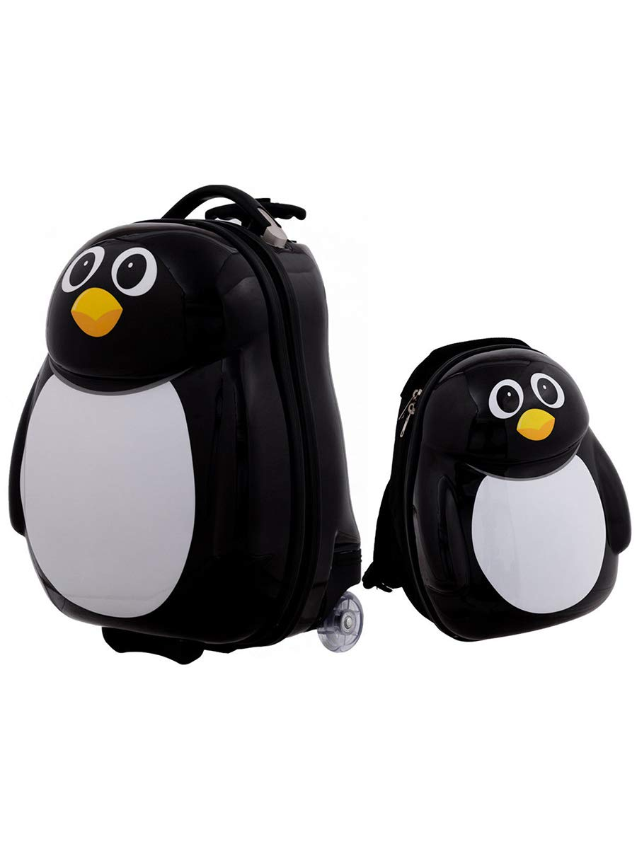 HONEY JOY 2Pc 13'' 19'' Kids Carry On Luggage Set Travel Trolley Suitcase for Boys and Girls (Penguin)