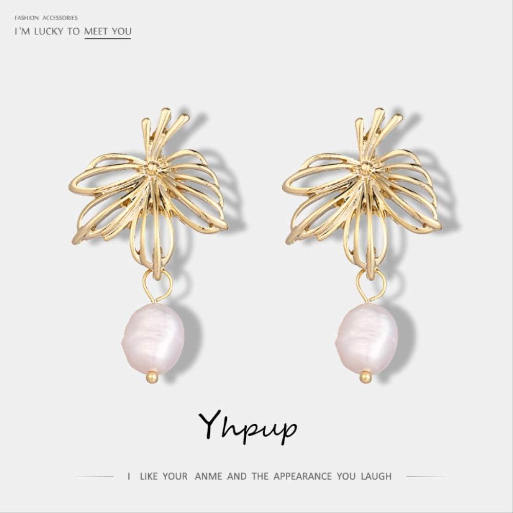 Vintage coreano hueco planta hoja cuelga los pendientes perlas naturales barroco oro pendientes Oorbellen Girl Party joyería nueva