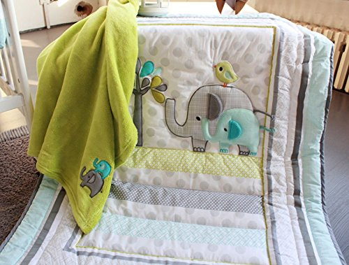 NAUGHTYBOSS Unisex Baby Bedding Set Cotton 3D Embroidery Elephant Bird Quilt Bumper Mattress Cover Blanket 8 Pieces Green by NAUGHTYBOSS (Image #3)