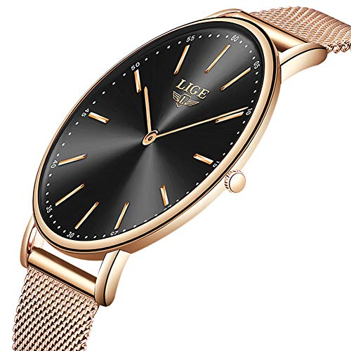 LIGE Slim Unisex Women Men Watches Waterproof Fashion Simple Analog Quartz Watch Man Luxury Rose Gold Black Stainless Steel Mesh Wristwatch