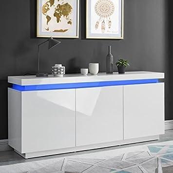 Beau ODYSSEE Buffet LED Contemporain Laque Blanc Brillant   L 170 Cm
